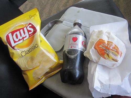 Weird breakfast sandwich, chips, cola - $7.80