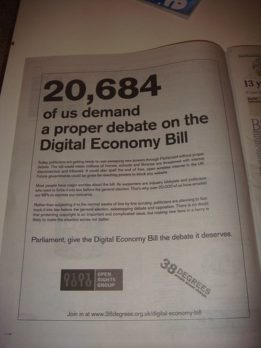 Digital Economy Bill advert by Open Rights Group in The Times 6/4/2010