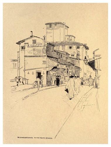 007- Tiendas de joyeros en el puente Vecchio-Florence  a sketch book (1914)- Richards Fred