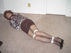 Not real comfy here! (cameraman344) Tags: silk bondage skirt heels crossdresser spandex