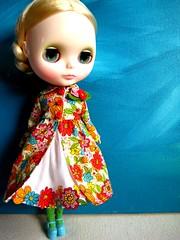 Custom for Chrissy (Trio Blythe) Tags: flowers red orange white yellow warm dress handmade brooch crochet mama blythe trio custom springfling trenchie minitrench