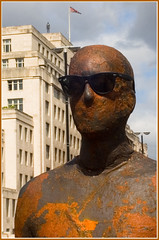 Gormley with my Raybans (louisberk.com) Tags: london southbank gormley raybans waterloobridge epsonrd1 may2007 gormleystatue