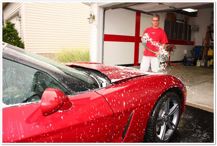 Gilmour Foam Gun spraying shampoo for car wash