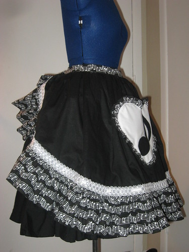 Music Note Applique Reversible Overskirt 010