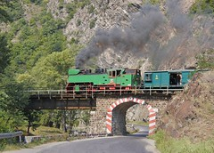 Bulgaria State Railways (BDZ)  2-10-2T 760mm gauge steam locomotive 609 76 built by Chrzanow in Poland in 1949, leads a railfan excursion across the River Cepina, at Dolene, Bulgaria, August 26, 2006. (Ivan S. Abrams) Tags: onlythebestare ivansabrams trainplanepro ivanabrams abramsandmcdanielinternationallawandeconomicdiplomacy ivansabramsarizonaattorney ivansabramsbauniversityofpittsburghjduniversityofpittsburghllmuniversityofarizonainternationallawyer