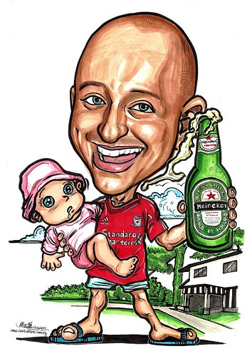 guy caricature with baby Heineken Liverpool A3