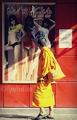 There's No Harm in Looking (lynhdan) Tags: street thailand asia southeastasia faith documentary monk gogo juxtaposition pattaya walkingstreet gogobar chonburi 5photosaday canon50d streetthailand earthasia totallythailand lynhdan nuisagogo