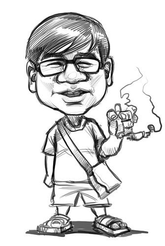 Eddie Quek's b&w caricature
