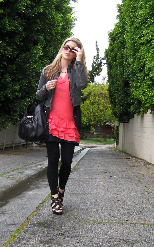 coral ruffle dress+1969 jacket+strappy wedges-3-1