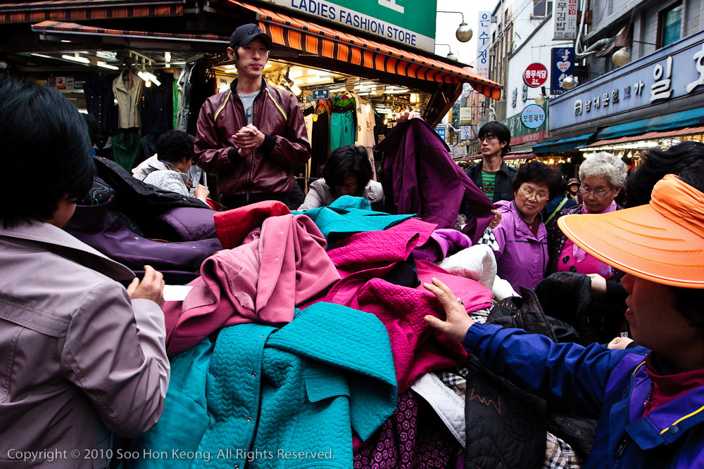 Clothes Seller @ Namdaemun Market. Seoul, Korea