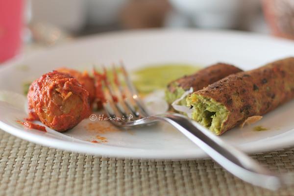 Tandoori stuffed aloo and Vegan Seekh Kababs