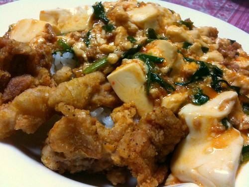 #jisui 麻婆豆腐丼に唐揚げ添え!