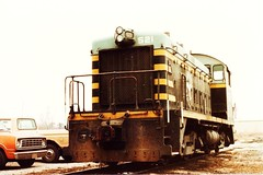 Belt Railway of Chicago EMD switcher # 521 idling at Clearing Yard. Bedford Park Illinois. March 1985.