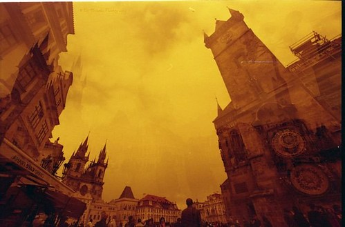 Redscale-MultipleExposure-Fisheye-Analogue-Prague