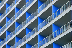 (mind the goat) Tags: blue vacation holiday building architecture concrete hotel spain triangle pattern box balcony railing teneriffe goemetrical