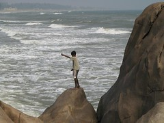 Boy fishing - Coromandel Coast (golden road) Tags: india coast fishing unesco worldheritagesite tamilnadu coromandel mahabalipuram mamallapuram bayofbengal southindianimages