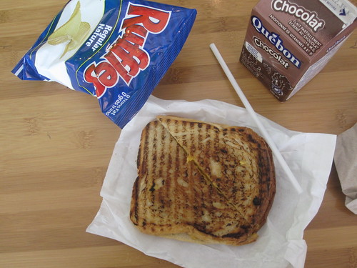 Grilled cheese, chips, chocolate milk from Pasta Café and the vending machine - $6.27