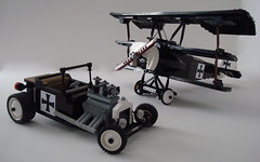 1919 T-Bucket/ Fokker DR1 (Lino M) Tags: seattle red white black hot ford museum lego aircraft ironcross flight worldwari rod 1919 custom build challenge lino baron modelt redbaron lugnuts fokker dr1 tbucket triplane kickinitoldschool antonfokker