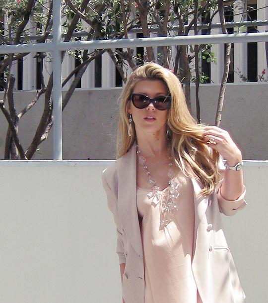 prada chandelier+peach blouse+beige blazer+j brand jeans+vuitton speedy
