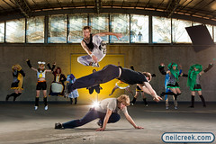 Parkour and Cosplay Jump! (neilcreek) Tags: cute muscles outside lights costume jump cosplay action stage melbourne leap parkour sidneymyermusicbowl strobist