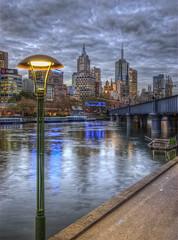 Yarra bank (J-C-M) Tags: city light reflection lamp photoshop buildings river streetlight dusk streetlamp australia melbourne victoria yarra hdr topaz yarrariver photomatix