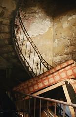 (Joost (formerly habeebee)) Tags: street old shadow brown wall stairs trash garbage peeling hungary shadows decay budapest courtyard stairwell nostalgia pile rubbish utca railing ornamental legacy heartshaped magyarország piled centraleurope király erzsébetváros