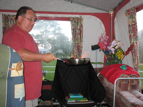 Flambe in the caravan awning!