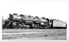 Western Pacific 4-6-6-4 Challenger type steam locomotive. Elko Nevada ,1940's.