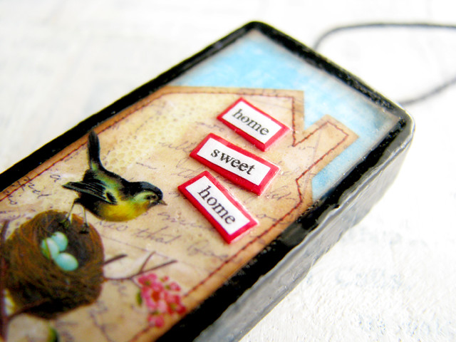 Home Sweet Home Nesting Bird Collage - Altered Domino Fine Art Jewelry Pendant :: Close