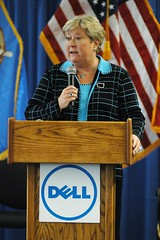 Jari at the Army Reserve Dell Service Desk Opening (jariaskins) Tags: oklahoma army reserve governor dell jari askins