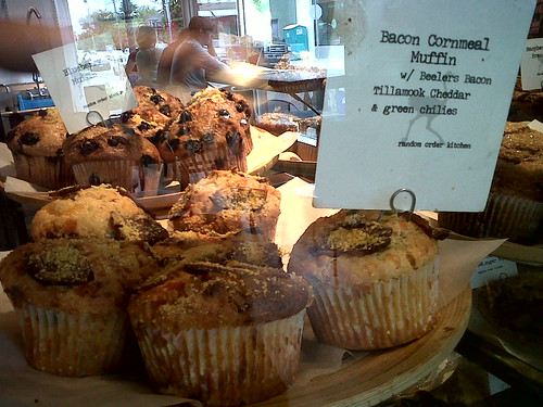 Bacon Cornmeal Muffin @ Random Order Coffeehouse in Portland. Best muffins ever!