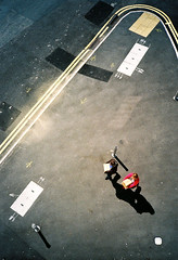 where to? (stereomind) Tags: from above uk 35mm shadows sunny rangefinder olympus arrows xa
