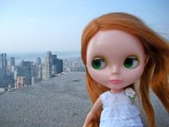 wind in her hair, 70 stories up. (LauraKateIsCrafty) Tags: nyc newyorkcity newyork vintage doll rockefellercenter redhead diana kenner blythe 1972 kb topoftherock 30rock observationdeck sidepart