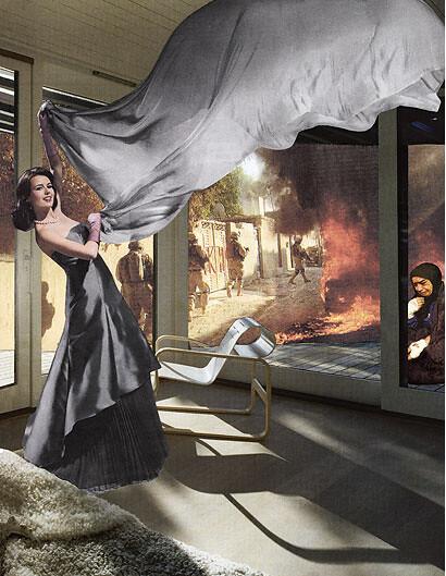 Martha Rosler, The Gray Drape, 2008, Photomontage