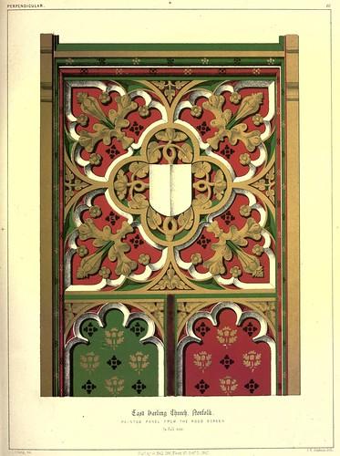 012- Panel de madera pintado de la reja este -iglesia de Harling - Norfolk-Gothic ornaments.. 1848-50-)- Kellaway Colling