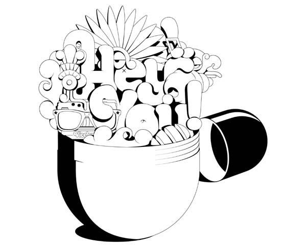 tipografía en capsula