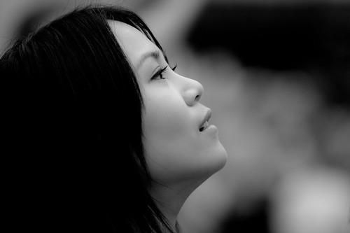 フリー写真素材, 人物, 女性, アジア女性, 横顔, モノクロ写真,