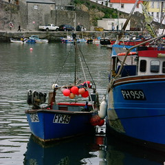 SG200793crop (Charlie Jobson) Tags: blue sea water boats fishing cornwall colours harbour bythesea mevagissy buoyant