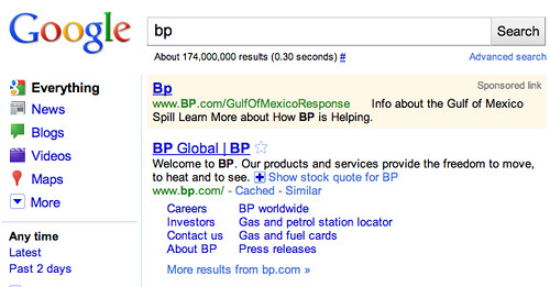Google BP AdWords Ad