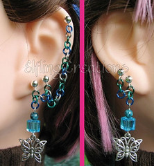 Blue and green butterfly cartilage chain earrings