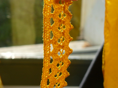 yellow dyed crochet lace