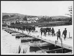 British transport crossing a pontoon bridge across the Marne