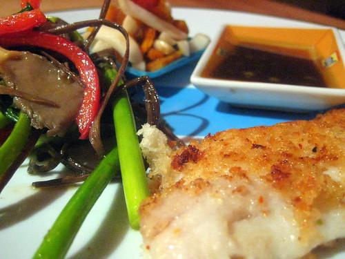 Panko Dover Sole, Stir Fry, Acharazuke, Wasabi Ginger Dipping Sauce