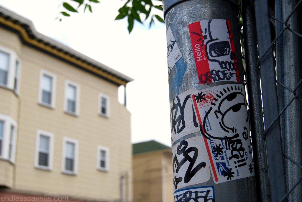 Orsoe, Cuss graffiti stickers in Oakland California East Bay.