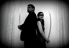 365.170: Another Saturday Night (caryn74) Tags: bw couple marriage duel 365 swords picnik holgaesque 365days 365mosaic