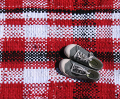 The Canada Rug, Handwoven Recycled T-Shirt Rag Rug Runner (fiveforty) Tags: red blackandwhite canada handwoven ragrug recycledtshirts fiveforty recycledtextile