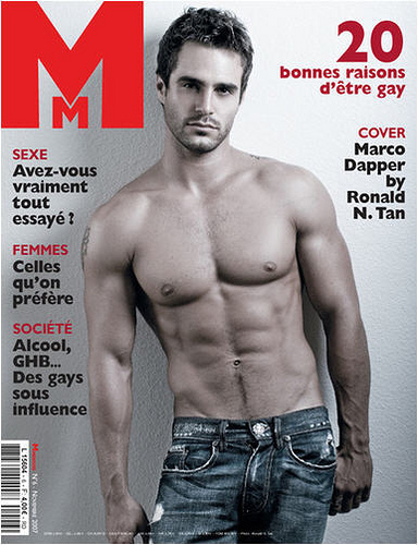 sexy marco dapper shirtless as cover boy for man mag