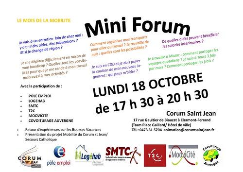 Mini forum mobilite LUNDI 18 Octobre à Clermont-ferrand