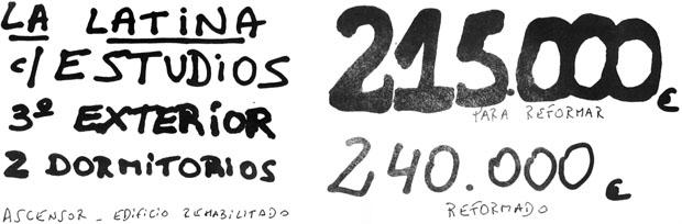 Fotografía de un folleto de venta de un piso de mierda en La Latina, Madrid