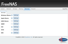 FreeNAS 0.8 pre-Beta Services Page